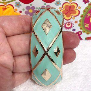 Boho Large Mint & Goldtone Hinged Bangle Bracelet